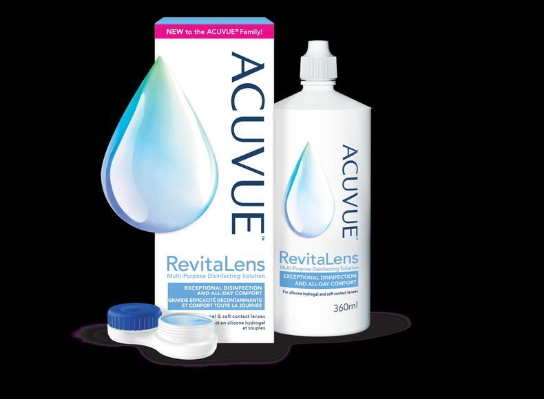 ACUVUE® RevitaLens : emballage, flacon et étui à lentilles