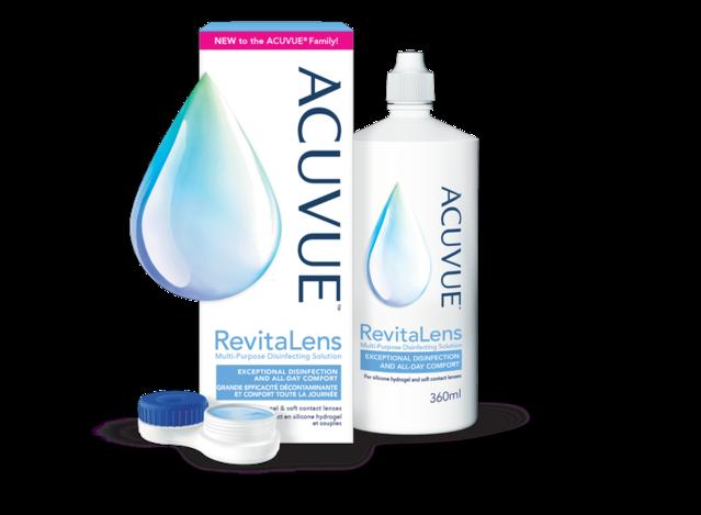 ACUVUE® RevitaLens: emballage, flacon et étui à lentilles