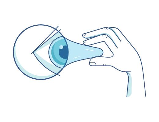 Retirer une lentille de contact d'un œil.