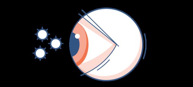 Illustration d'un œil rouge avec des particules de pollen dans l'air ambiant.