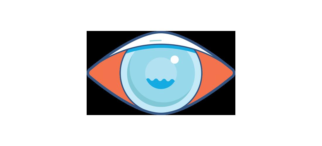Illustration d'un oeil rouge nuageux.